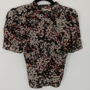 Topshop floral blouse with keyhole